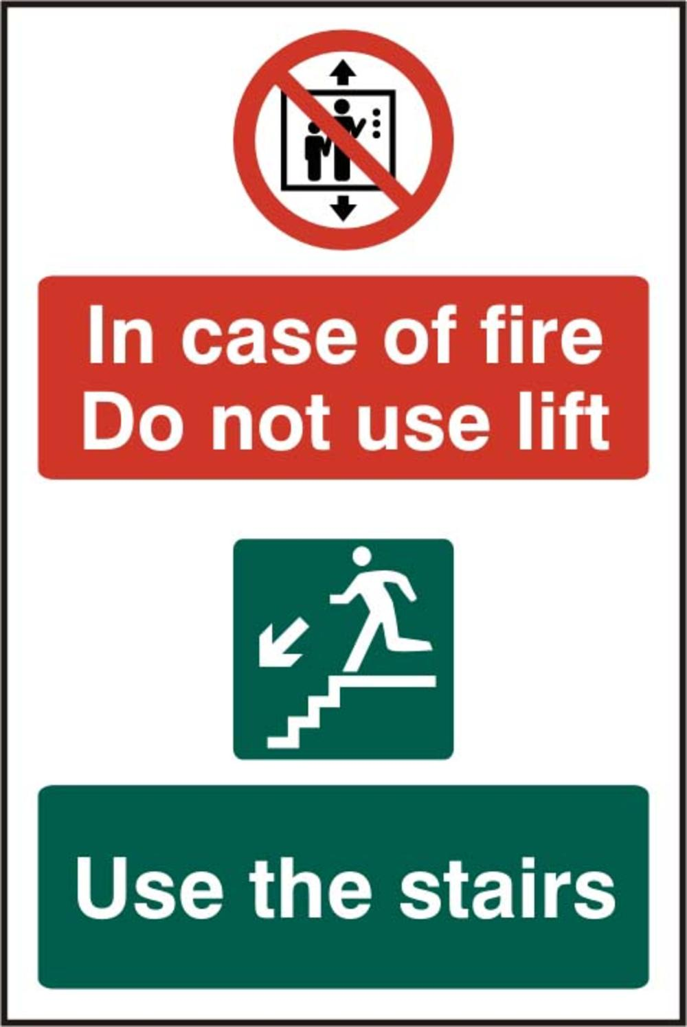 /In Case Of Fire Do Not Use Lift Use The Stairs S/Adhesive PVC (200 X