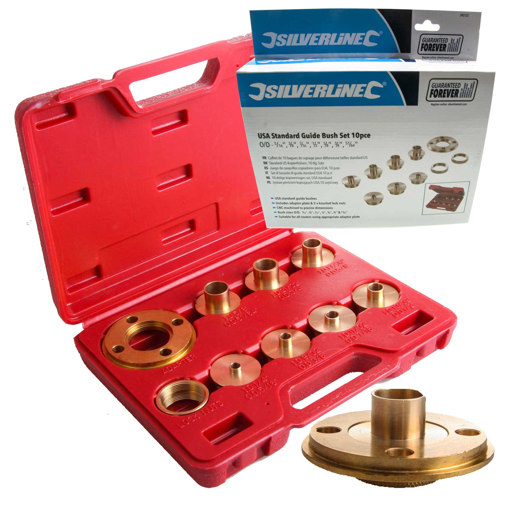 silverline 245122 10 piece guide bush set for routers silverline