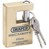 Draper 64201 831363 Close Shackle Brass Padlock with 2 Keys
