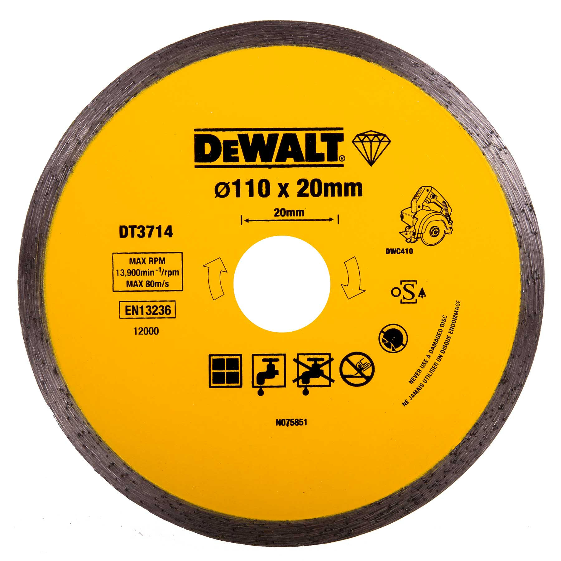 Dewalt Diamond Tile Cutting Blade 110mm X 20mm To Fit The