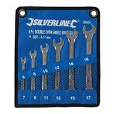 Silverline 380424 Open Ended CRV Drop Forged Spanner Set 6 to 17mm