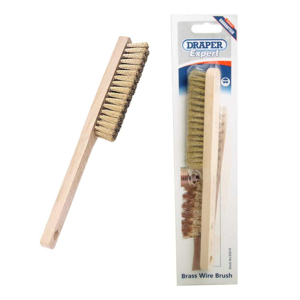 Draper Expert Quality Small Brass Wire Hand Spark Plug Brush 225mm