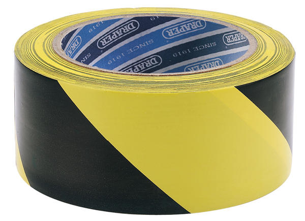 Draper 63382 TP-HAZ. 33M x 50mm Black & Yellow Adhesive Hazard Tape Roll Thumbnail 1
