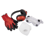 Sealey SEP2 Flexi Grip Gloves, FFP1 Mask, Goggles & Ear Defenders PPE Set