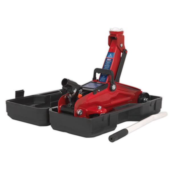 Sealey 1050CXD Trolley Jack 2tonne Short Chassis with Storage Case Thumbnail 2