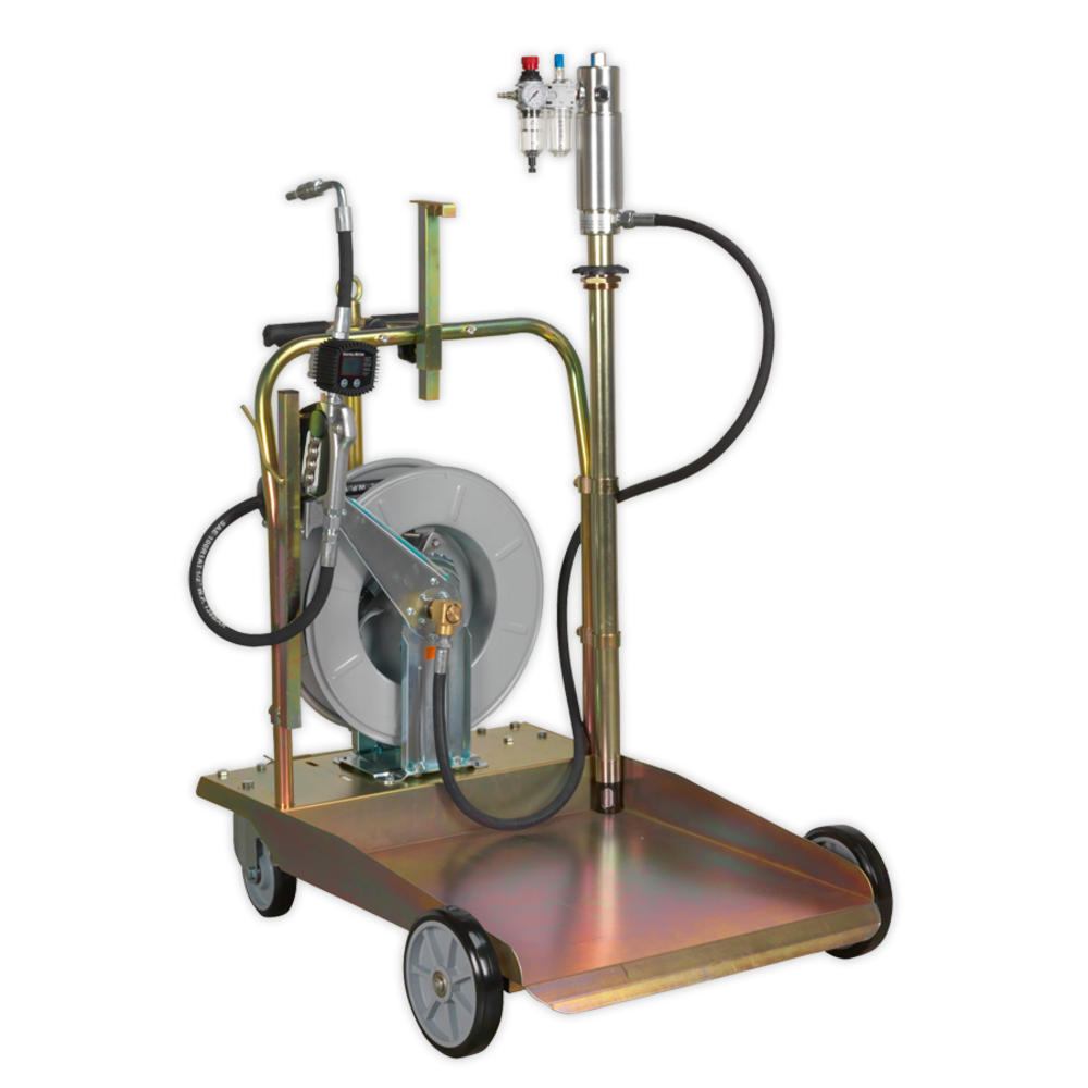 Sealey AK4562D Oil Dispensing System Air Operated with 10M Retractable Hose Reel