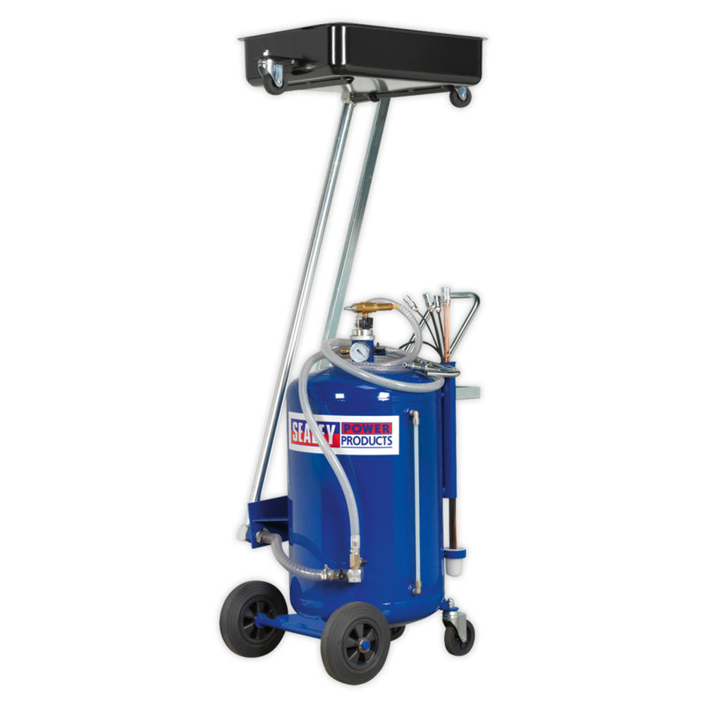Sealey AK462DX Mobile Oil Drainer with Probes 100 Litre Cantilever Air Discharge