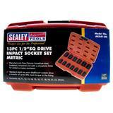 """Sealey AK5613M Impact Socket Set 13pc 1/2"""" Sq Drive Metric"""