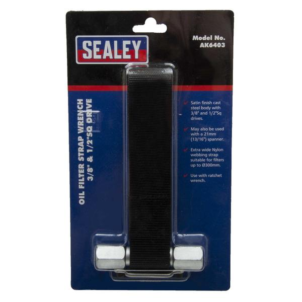 "Sealey AK6403 Oil Filter Strap Wrench 300mm Capacity 3/8"" & 1/2"" Sq Drive Thumbnail 3"