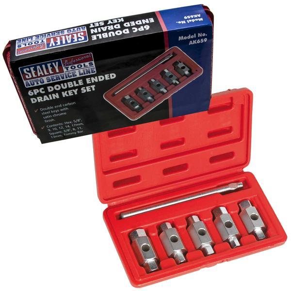 Sealey AK659 Oil Drain Plug Key Set Double End (6 Piece) Thumbnail 1