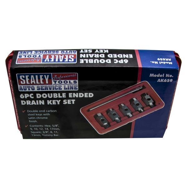 Sealey AK659 Oil Drain Plug Key Set Double End (6 Piece) Thumbnail 4