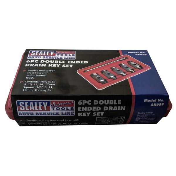 Sealey AK659 Oil Drain Plug Key Set Double End (6 Piece) Thumbnail 2