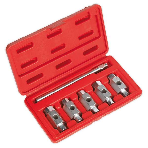 Sealey AK659 Oil Drain Plug Key Set Double End (6 Piece) Thumbnail 3