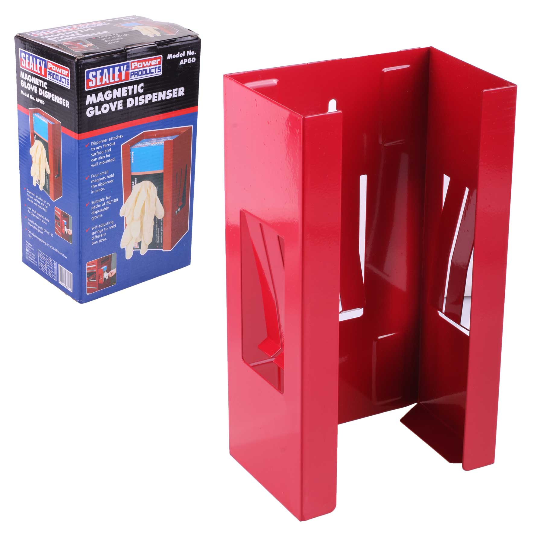 Sealey Apgd Magnetic Glove Dispenser Red Sealey Apgd