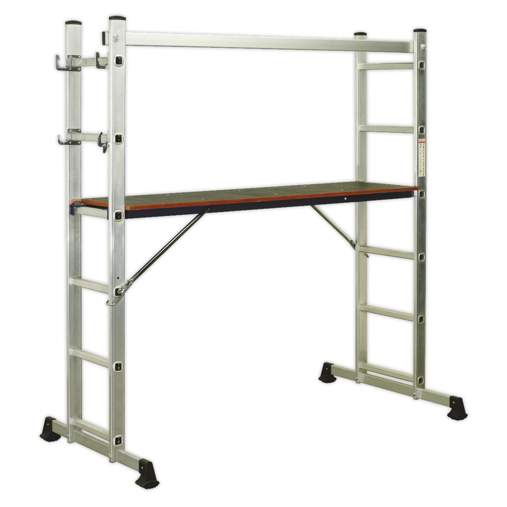 Sealey Aluminium Scaffold Ladder 4-Way EN 131