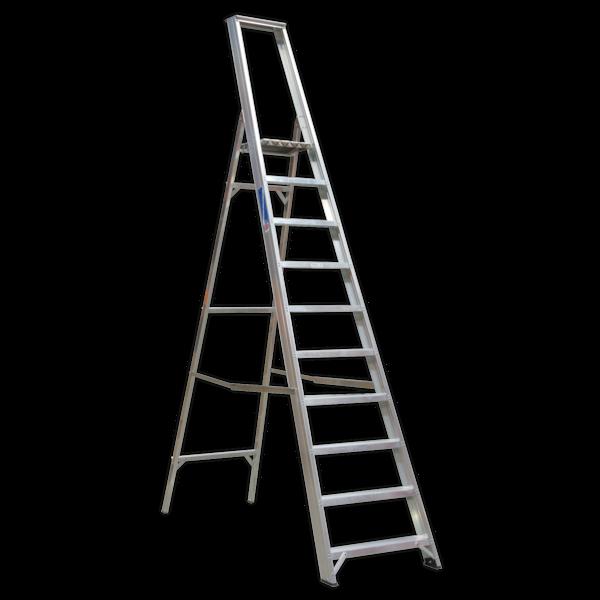 Sealey AXL10 Aluminium Step Ladder 10-Tread Industrial BS 2037/1 Thumbnail 1