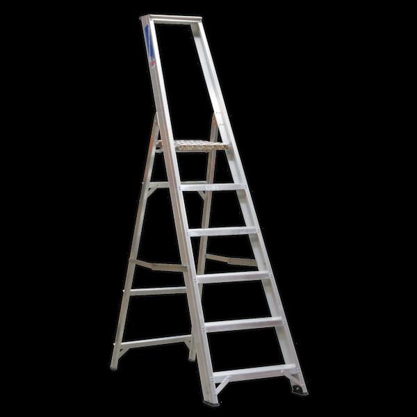 Sealey AXL6 Aluminium Step Ladder 6-Tread Industrial BS 2037/1 Thumbnail 1