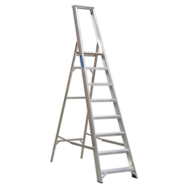 Sealey AXL8 Aluminium Step Ladder 8-Tread Industrial BS 2037/1 Thumbnail 1