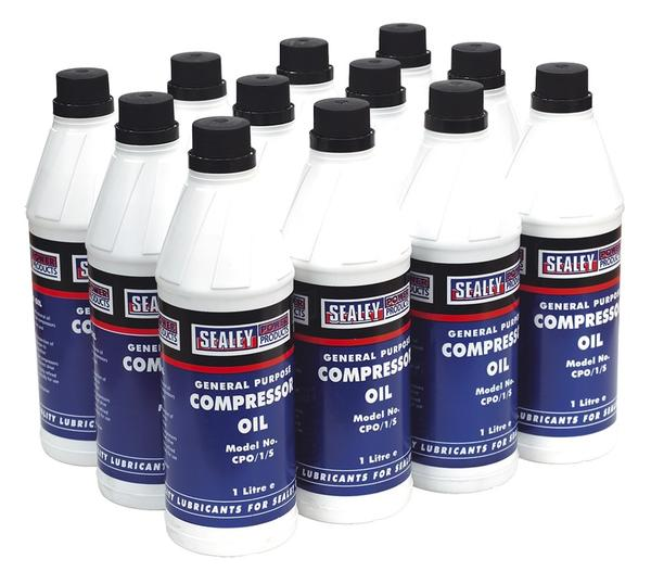Sealey CPO/1 Compressor Oil 1ltr Pack of 12 Thumbnail 1