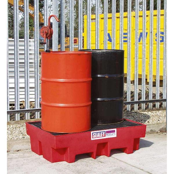 Sealey DRP12 Barrel Bund Polyethylene 1220 x 820 x 330mm (2 x 205L Capacity) Thumbnail 2