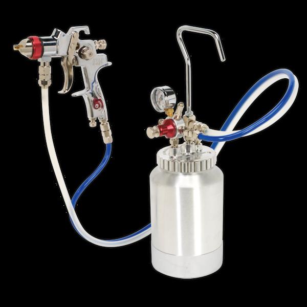 Sealey HVLP-79/P HVLP Pressure Pot System with Spray Gun & Hoses 1.7mm Set-Up Thumbnail 1