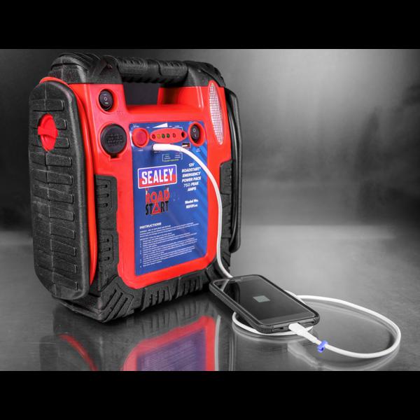 Sealey RS131 RoadStart Emergency Power Pack 12V 750 Peak Amps Thumbnail 5