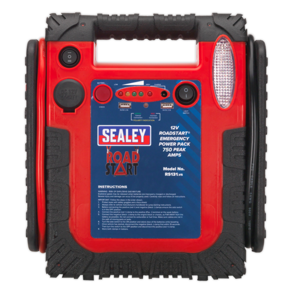 Sealey RS131 RoadStart Emergency Power Pack 12V 750 Peak Amps Thumbnail 2