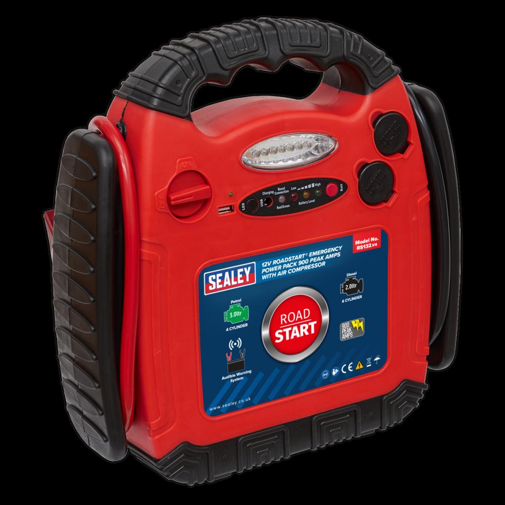 Sealey RS132 RoadStart® Emergency Power Pack with Compressor 12V 900 Peak Amps