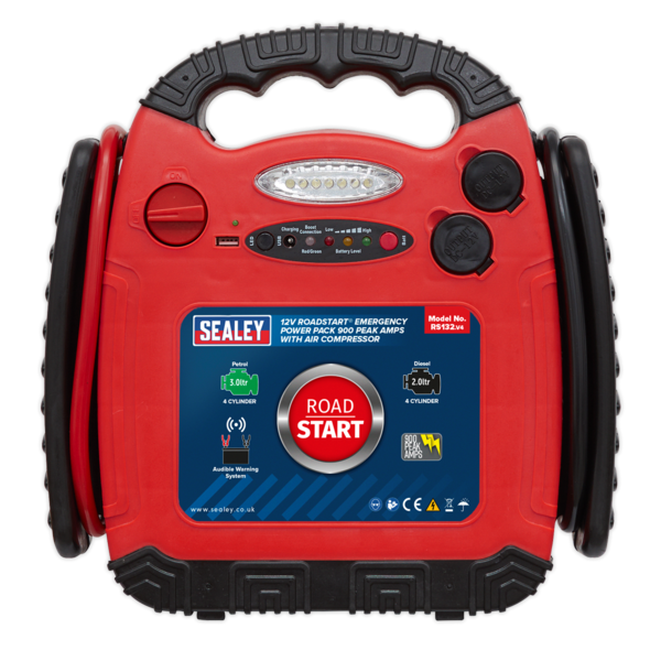 Sealey RS132 RoadStart® Emergency Power Pack with Compressor 12V 900 Peak Amps Thumbnail 2