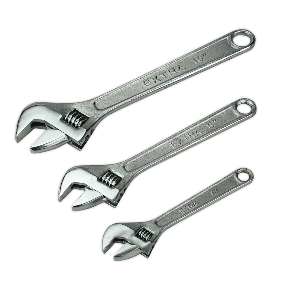 Sealey S0448 Adjustable Wrench Set 3pc 150, 200 & 250mm