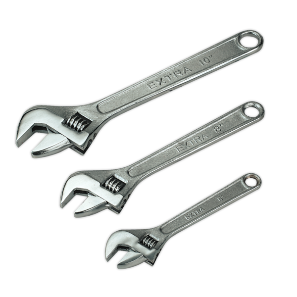 Sealey S0448 Adjustable Wrench Set 3pc 150, 200 & 250mm Thumbnail 1