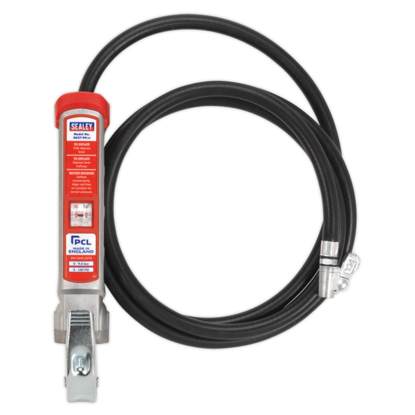 Sealey SA37/94 Professional Tyre Inflator with 2.7mtr Hose & Clip-On Connector Thumbnail 2