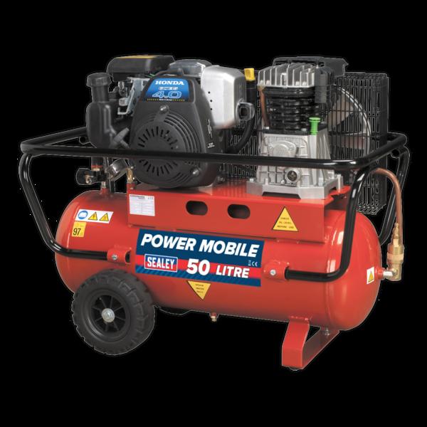 Sealey SA5040 Compressor 50ltr Belt Drive Petrol Engine 4hp  Thumbnail 1