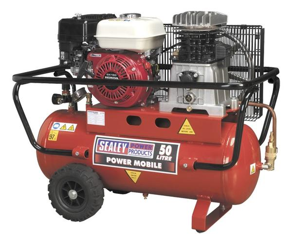Sealey SA5055 Air Compressor 50L Belt Drive Petrol Engine 5.5hp Thumbnail 1