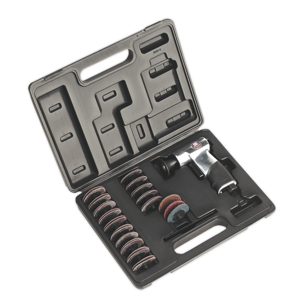 Sealey SA720 Air Mini Sander Kit 50mm 35pc  Thumbnail 1