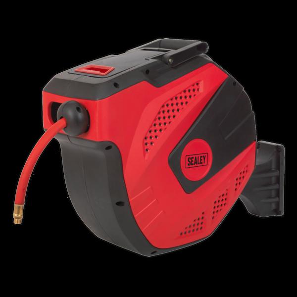 Sealey SA824 Auto Rewind Control Air Hose Reel 30mtr 10mm Dia. ID - Rubber Hose Thumbnail 2