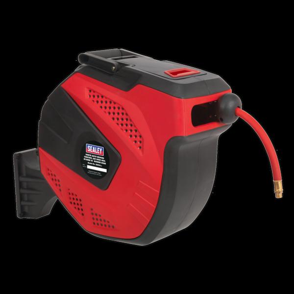Sealey SA824 Auto Rewind Control Air Hose Reel 30mtr 10mm Dia. ID - Rubber Hose Thumbnail 1