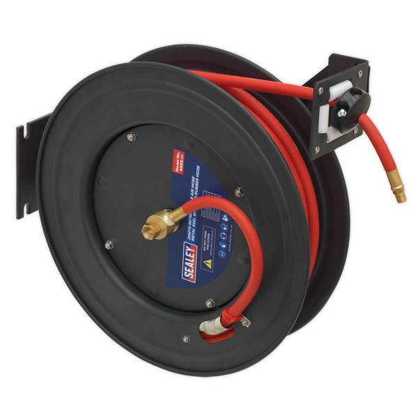 Sealey SA85 Retractable Air Hose Steel Reel 20mtr Ø10mm ID Rubber Hose Thumbnail 1