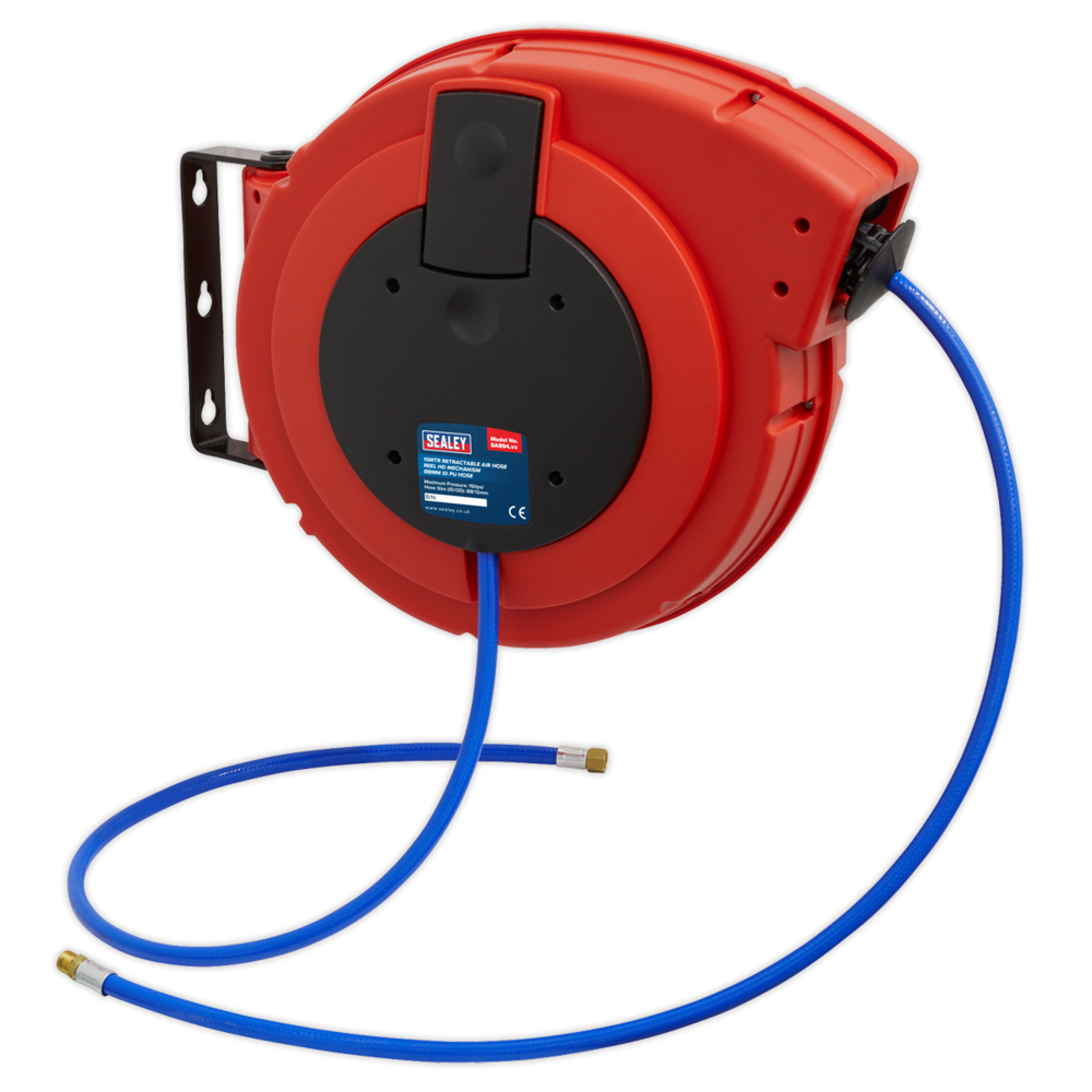 Sealey Retractable Air Hose Reel HD Mechanism 15M 8mm Dia. ID Polyurethane Hose