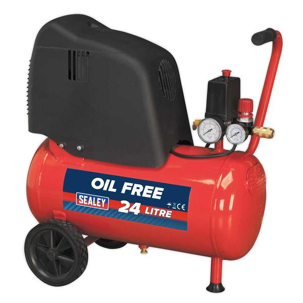 Sealey SAC02415 Compressor 25ltr Belt Drive 1.5hp Oil Free Thumbnail 1