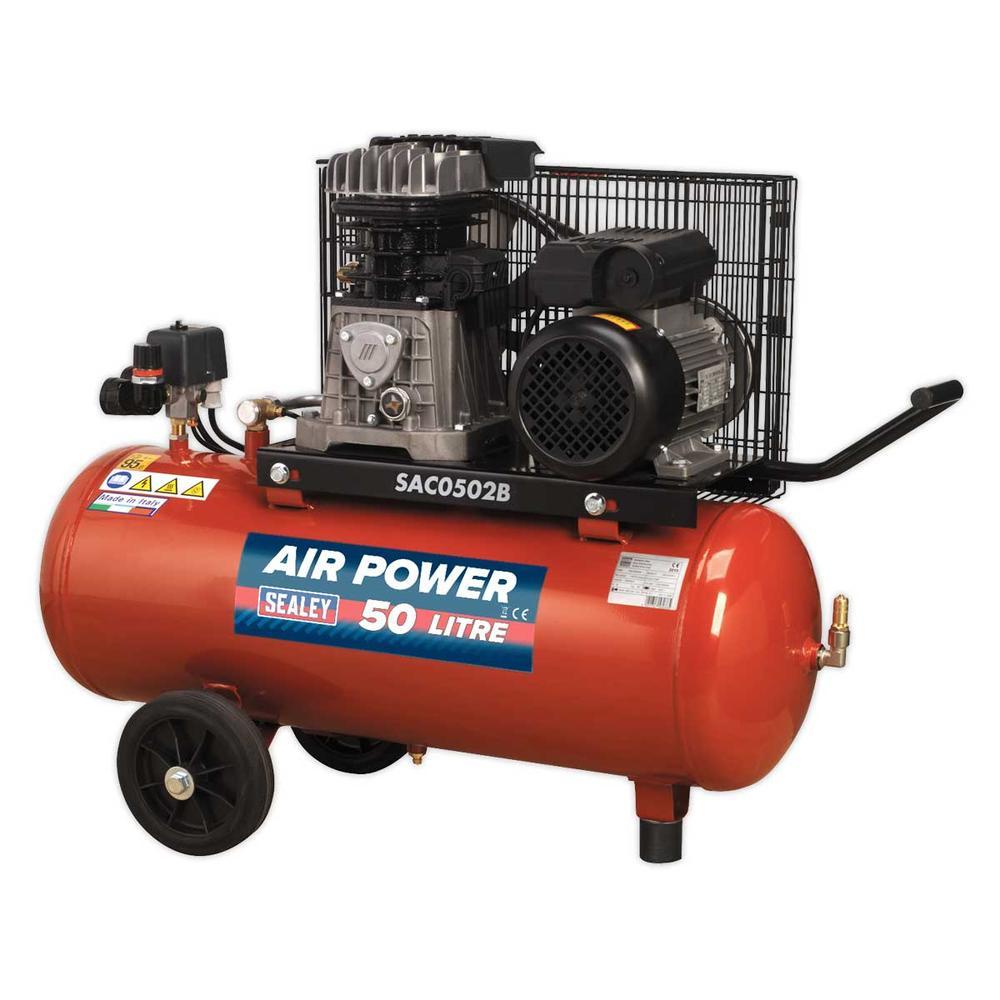 Sealey SAC0502B Compressor 50ltr Belt Drive 2hp with Cast Cylinders & Wheels