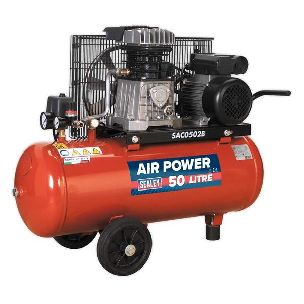 Sealey SAC0502B Compressor 50ltr Belt Drive 2hp with Cast Cylinders & Wheels Thumbnail 2