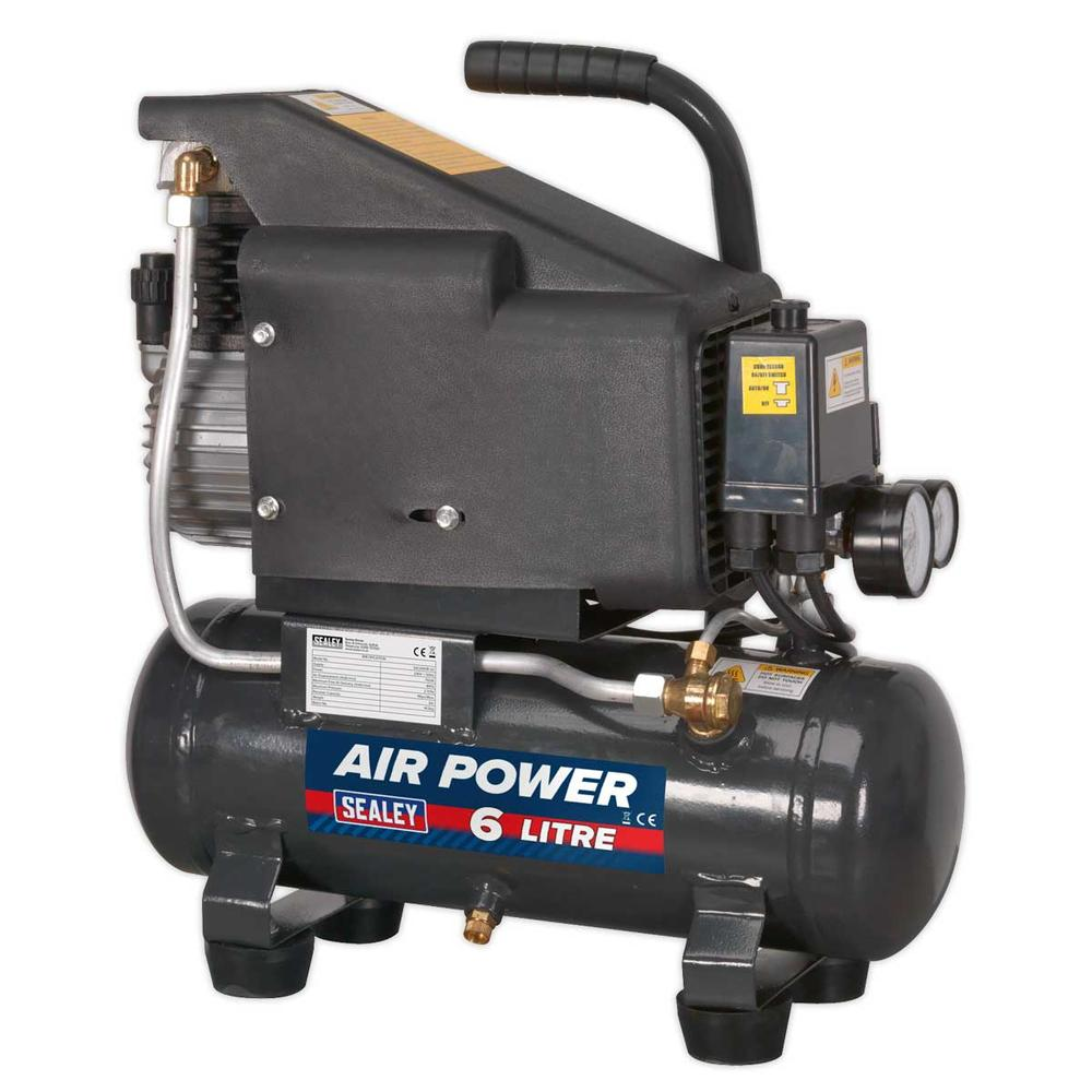 Sealey SAC0610E Compressor 6ltr Direct Drive 1hp