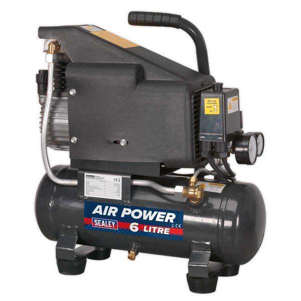 Sealey SAC0610E Compressor 6ltr Direct Drive 1hp Thumbnail 1