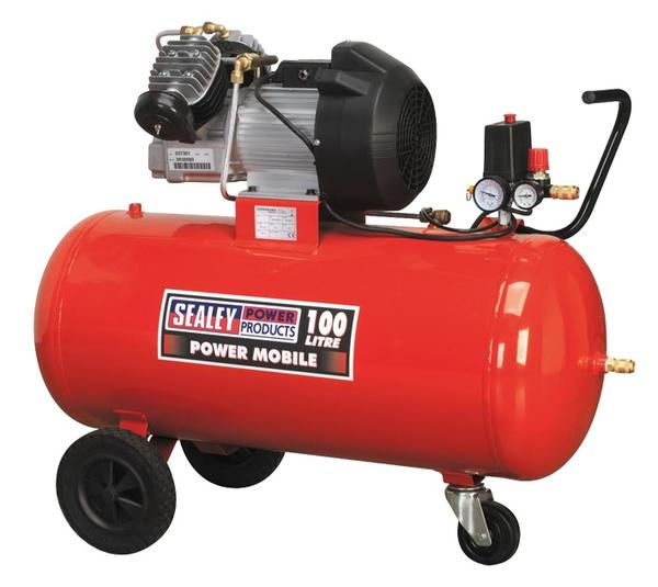 Sealey SAC10030 Air Compressor 100L V-Twin Direct Drive 3hp Thumbnail 1