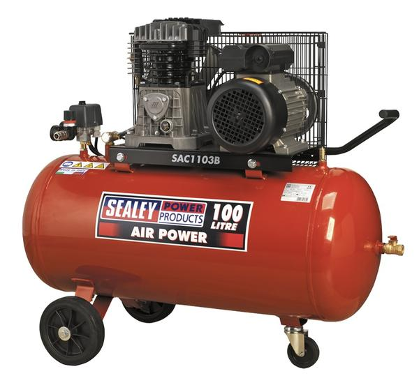 Sealey SAC1103B Air Compressor 100 Belt Drive 3hp with Cast Cylinders & Wheels Thumbnail 1