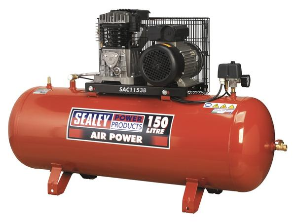 Sealey SAC1153B Air Compressor 150L Belt Drive 3hp with Cast Cylinders Thumbnail 1