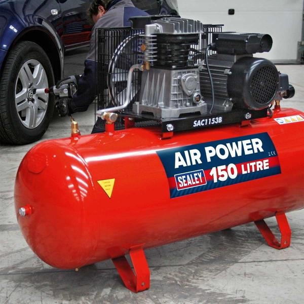 Sealey SAC1153B Air Compressor 150L Belt Drive 3hp with Cast Cylinders Thumbnail 2