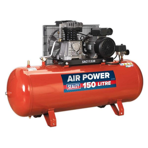 Sealey SAC1153B Air Compressor 150L Belt Drive 3hp with Cast Cylinders Thumbnail 3