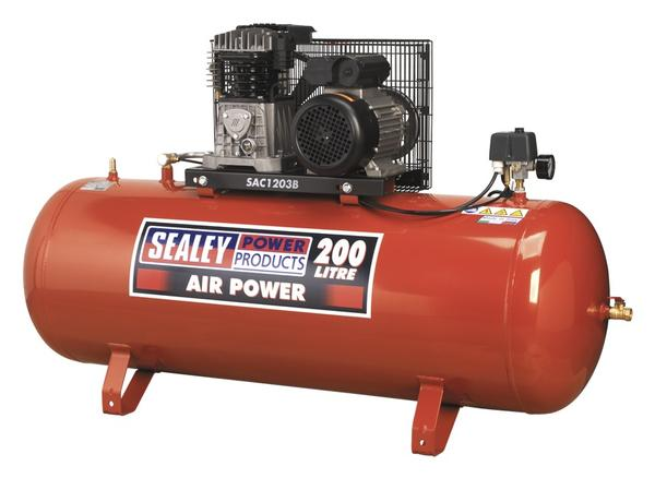 Sealey SAC1203B Air Compressor 200L Belt Drive 3hp with Cast Cylinders Thumbnail 1